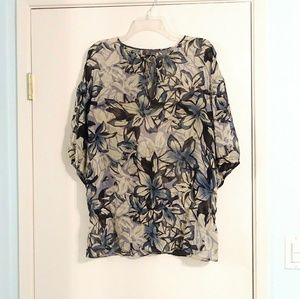 Vince 100% Silk Sheer Blouse with a Tie Neck